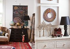 This is a room I was inspired by and pinned to my personal board awhile ago. The Asian themes in here are excellent inspiration for your room. Love that dresser!