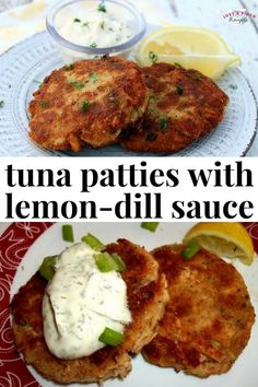 Tuna Patties with Lemon-Dill Sauce - an easy summer dinner recipe that will bring you back to your childhood. : justapinch   tunapatties  #seafood #tuna #tunarecipe