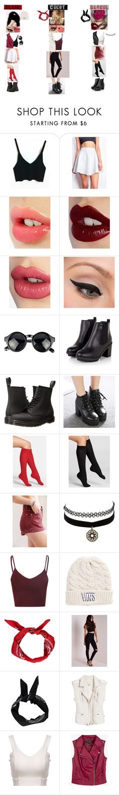 """Black,White,Red:A 90's Spirit"" by glee2shake ❤ liked on Polyvore featuring Charlotte Tilbury, LORAC, Dr. Martens, Mancienne, Nordstrom, Falke, Urban Renewal, Charlotte Russe, Glamorous and Vans"