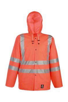 WASSERSCHUTZWARNJACKE 3/4 Modell: 1101R Die Jacke mit Druckknöpfen, mit Kapuze und zwei Seitentaschen mit Patten. Sie hat einen Warnstreifen, der die Sichtweite der Arbeiter erhöht. Dieses Modell wird aus dem wasserdichten Stoff Plavitex Fluo gefertigt und kommt immer bei schlechten Wetterbedingungen zum Einsatz, wenn die Sichtweite begrenzt ist. Es gewährleistet einen wirksamen Schutz gegen Wind und Regen.