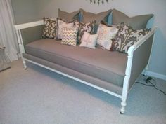 daybed from 2 twin bed headboards - like the color for my daybed in the office