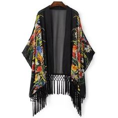 Open Front Kimono Sleeve Tassels Blouse BLACK: Blouses   ZAFUL (130 CAD) ❤ liked on Polyvore featuring tops et blouses