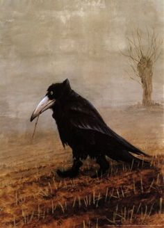 It's easy to anthropomorphize the crow.  He's bold and adventurous, and he talks - a lot.  So when we see painting of him acting like a man,  it's because we see so much of ourselves in him.