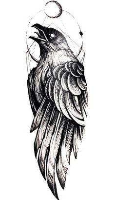 Crow Tattoo Design, Tattoo Design Drawings, Tattoo Sleeve Designs, Tattoo Sketches, Art Sketches, Sleeve Tattoos, Viking Tattoo Design, Viking Tattoo Sleeve, Norse Tattoo