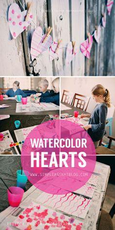 Fun + frugal valentines craft for kids // watercolor hearts. #valentinesday #kidscraft
