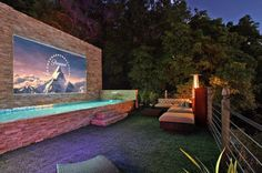 Movie screen and lap pool combo.