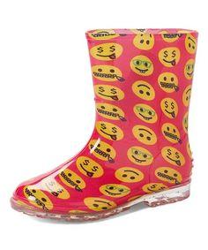 Look what I found on #zulily! Pink & Yellow Emoji Rain Boot #zulilyfinds