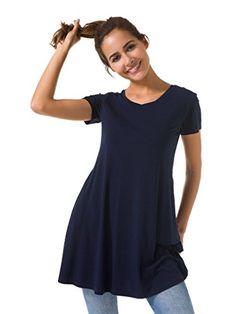 1de93b09819 SIORO Casual Dress Plus Size Tunic Dress Short Sleeve Dress Shirt Tank  Dresses with Pockets Loose
