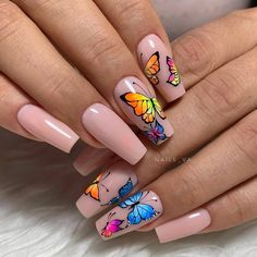 We can make a butterfly manicure as a response to the costume of a butterfly pattern. Butterfly manicures can also be embellished as pure embellishments, giving our overall look a wonderful detail worthing exploring. Butterfly Nail Designs, Butterfly Nail Art, Disney Acrylic Nails, Best Acrylic Nails, Matted Nails, Fire Nails, Silver Nails, Flower Nails, Perfect Nails