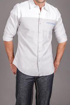White Picket Fence Walden L/S Shirt. I love the contrast color and the slit pocket