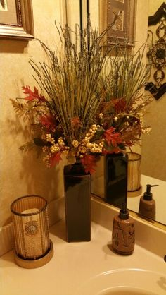 This Fall Decor is beautifully arranged in our Tall Cartwright Vase using One Set of our Autumn Picks and one of our Green Wetland Grass Picks...... You can see More of our Beautiful Home and Seasonal Decor in my two catalogs at my website at: www.signaturehomestyles.biz/geriimbrogno