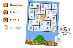 Super Mario Bingo - 6 different cards - free PDF printable