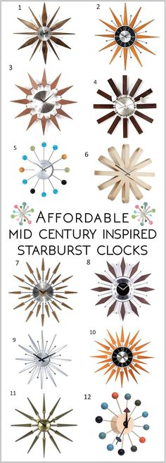 Affordable Starburst Mid Century Modern Clock Options || Sew at Home Mummy