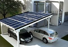 Efficient carport with solar panels In a carport a shed or an attic can be integrated. There are carports made of wood, steel, concrete or even glass. There are carports with solar roof or carports wi Solar Carport, Carport Garage, Renewable Energy, Solar Energy, Solar Power, Wind Power, Solar Roof Tiles, Carports, Best Solar Panels
