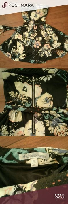 Strapless floral dress Strapless black dress with pastel floral print. Zippered back. Charlotte Russe Dresses Strapless