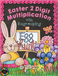 Go on an egg hunt to find Easter Double Digit Multiplication With Regrouping, Two Digit Multiplication Easter Activities, Spring Activities, Holiday Activities, Classroom Activities, School Classroom, Two Digit Multiplication, Multiplication Activities, Math Games, Maths