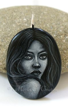 Charming girl portrait painting on stone, realized as a unique art pendant by Magics of Creation