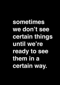 Sometimes we don't see things...
