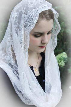 Evintage Veils~ French Chantilly Salve Regina Light Blush PINK Lace Chapel Veil…
