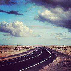 Fuerteventura, carretera de Corralejo.