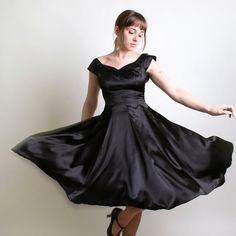 Vintage Evening Dress - Bombshell 1950s 1960s Little Black Dress Light Satin - Small. $160.00, via Etsy.