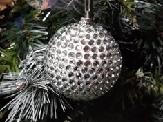 DIY crystal ball Christmas tree ornament from styrofoam ball and decorated with crystal stickers.