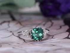 7mm Cushion Cut Alexandrite Engagement Ring,14k White Gold,Anniversary ring,Promise ring,Pave Set,Marquise,Fashion Design,Prong,Gift for her