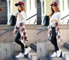 Tartan shirt, jeans & sneackers Mariannan