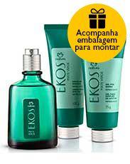 Presente Natura Ekos Mate Verde - Desodorante Colônia + Creme de Barbear + Gel Pós-barba + Embalagem Desmontada
