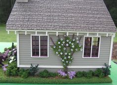 I made the trellis and the flowering vine. Susan's Miniatures by Susan J Farnik Dollhouse Design, Dollhouse Miniatures, Dollhouse Ideas, Avalon House, House Wiring, Purple Home, Miniature Houses, Miniature Gardens, Small Space Living