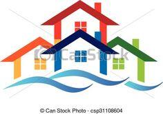 Vector - Logo real estate houses - stock illustration, royalty free illustrations, stock clip art icon, stock clipart icons, logo, line art, EPS picture, pictures, graphic, graphics, drawing, drawings, vector image, artwork, EPS vector art