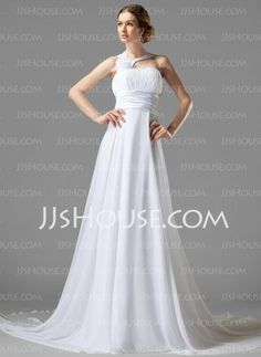 Wedding Dresses - $135.99 - Empire One-Shoulder Court Train Chiffon Charmeuse Wedding Dress With Ruffle Flower(s) (002000447) http://jjshouse.com/Empire-One-Shoulder-Court-Train-Chiffon-Charmeuse-Wedding-Dress-With-Ruffle-Flower-S-002000447-g447