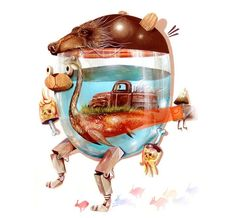 Nosego's Colorful Illustrations of Pastiche Characters