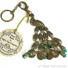 Bag Charm, Key Ring, Beaded Peacock, Antique Bronze and Quartz Crystal, Purse Charm, Clip by nightowlcreative. Explore more products on http://nightowlcreative.etsy.com