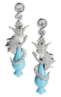 'My Little Dragon', a handcrafted, one-off creation with 18kt white gold, diamonds and turquoise, Jessica Miller