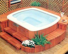 Hotspring Massagebad - Spabad med trädäck Jacuzzi, Pergola, Villa, Google, Outdoor Decor, House, Inspiration, Biblical Inspiration, Home