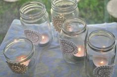 Picnic decorating - Candles in mason jars. Sprinkle a little funfetti at the bottom for added sparkle