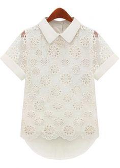 Short Sleeve Pierced White T Shirt