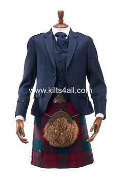 Bespoke highland wear from Kilts4all; Midnight tweed with Modern Lindsay tartan. Handcrafted accessories - all made within the UK