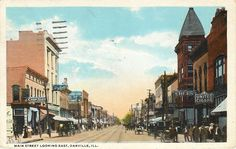 Danville, IL - Main Street Looking East - Chop Suey Restaurant - United Cigars - Cherry Liquors - The Belt? - Meis - Rhodes Burford - Postcard.