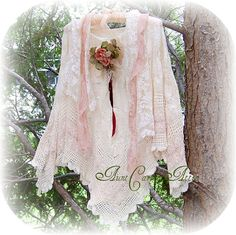 Romantic Lace Shawl Cape  Poncho Cream and by auntcarriesattic