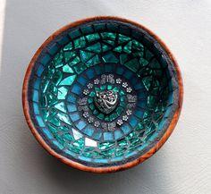 Mosaic Jewelry Keys Dish / Bowl  in Aqua / by MOSAICSnMORE on Etsy