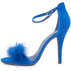 Saskia Cobalt Fluffy Strappy Heeled Sandals (9635 SYP) ❤ liked on Polyvore featuring shoes, sandals, blue, blue shoes, faux suede shoes, sexy shoes, strap heel sandals and strappy heel shoes