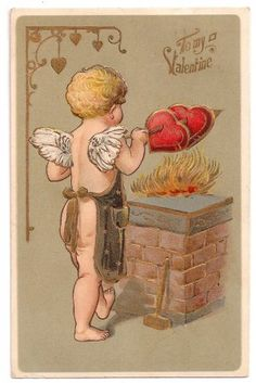 Early Valentine Postcard, Cupid Warming Two Hearts @ Vintage Touch $5.00