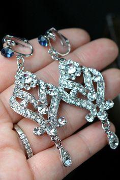 sapphire Clip on earrings Wedding Jewelry by thefabbridaljewelry