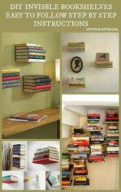 Beautiful and Unique Home Décor DIY – Install Invisible Bookshelves (see video on the bottom of page)