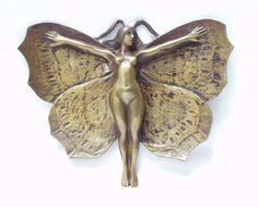 "Art Nouveau ring bowl, ""femme papillon"" - Catawiki"