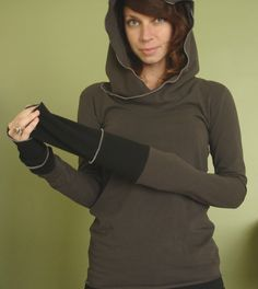 extra long sleeved hooded top CEMENT GREY by joclothing on Etsy