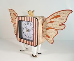 """The Reason Time Flies"" altered clock by @Sally Patterson! #graphic45 #clocks #DIY"