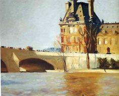Le Pont Royal: 1909 by Edward Hopper (Whitney Museum of American Art, NYC) - American Realism American Realism, American Artists, Manet, Edouard Vuillard, Toulouse, Edouard Hopper, Pont Royal, Edward Hopper Paintings, Impressionism